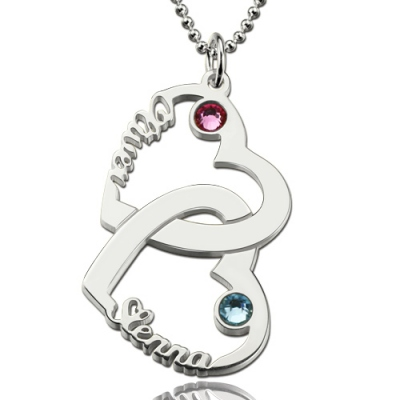 Sterling Silver Radiant Birthstones Heart in Heart Names Necklace