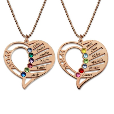 Rose Gold Brilliant Birthstones Engraved Heart Mother Names Necklace
