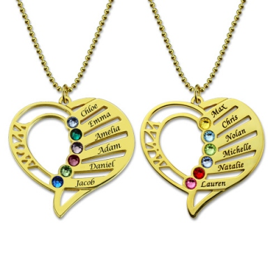 Gold Plated Silver Endearing Birthstones Engraved Heart Mother Necklace
