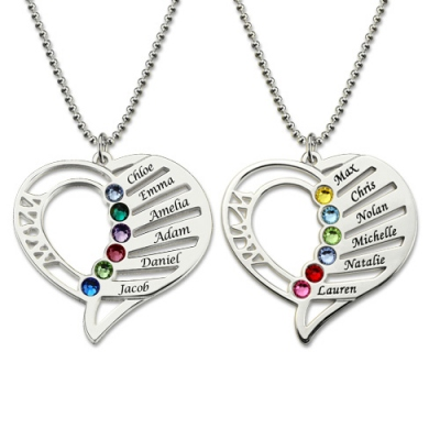 Sterling Silver Attractive Birthstones Engraved Heart Mother Necklace