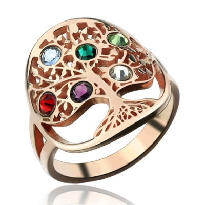 Rose Gold Radiant Family Tree Birthstones Ring