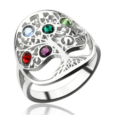 Sterling Silver Precious Birthstones Family Tree Ring