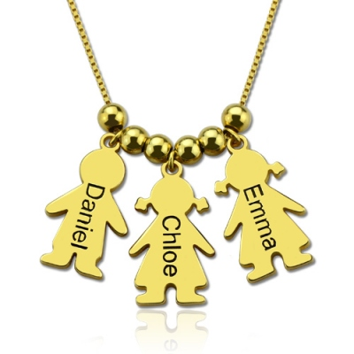 Gold Plated Silver Lovely Engraved Name Kids Charms Mother's Necklace