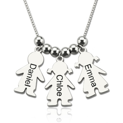 Sterling Silver Meaningful Engraved Name Kids Charms Mother's Necklace