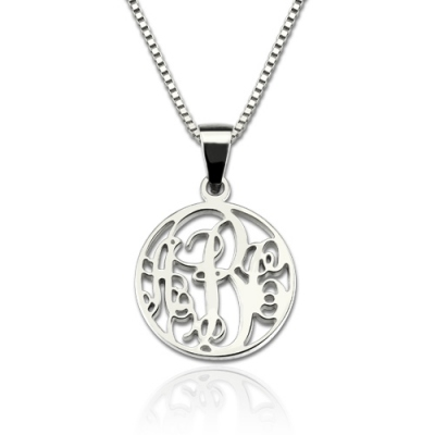 Sterling Silver Typical Box Chain XS Circle Monogram Necklace
