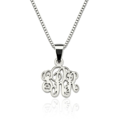 Sterling Silver Chic Personalized XS Monogram Necklace