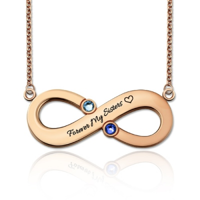 Rose Gold Splendid Two Birthstones Engraved Infinity Necklace