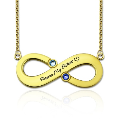 Gold Plated Silver Fabulous Two Birthstones Engraved Infinity Necklace