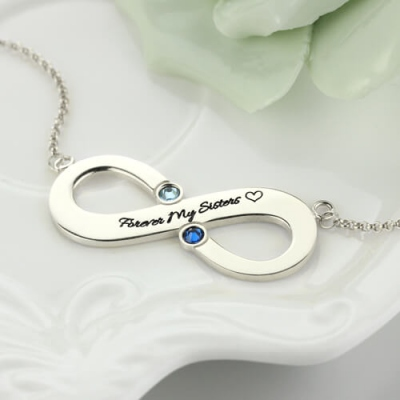 Sterling Silver Fantastic Two Birthstones Engraved Infinity Necklace