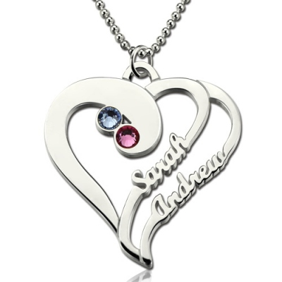 Sterling Silver Two Heart Forever  Birthstone Name Necklace