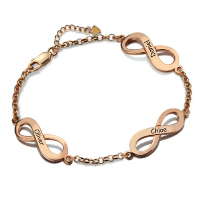 Rose Gold Subtle Personalized Triple Infinity Name Bracelet