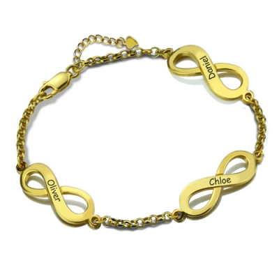 Gold Plated Silver Innovative Personalized Triple Infinity Name Bracelet