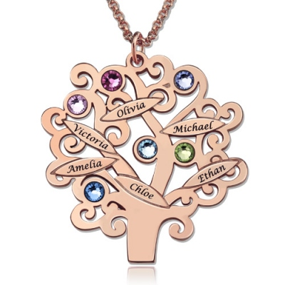 Elegant Engraved Names & Birthstones Family Tree Necklace