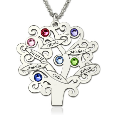 Graceful Birthstones Up to 6 Names Family Tree Necklace