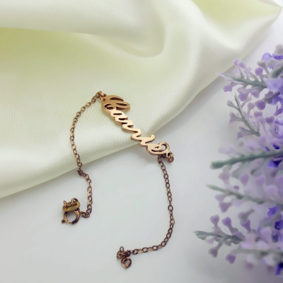 Refined Rose Gold Plated Silver 925 Carrie Style Name Bracelet
