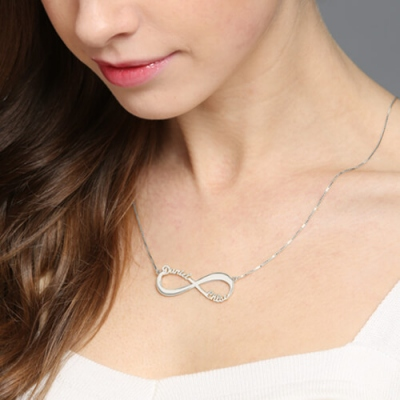 Personalized Exquisite Silver Infinity Symbol Double-Name Necklace