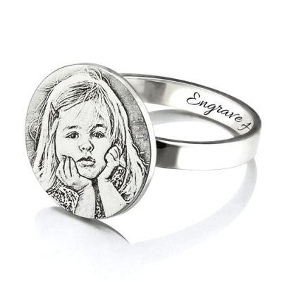 Classic Personalized Photo Memorial Gift for New Mom Engraved Ring