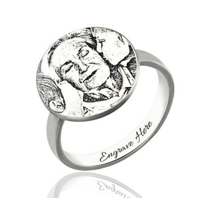 Smart Sterling Silver Personalized Photo-Engraved Disc Ring