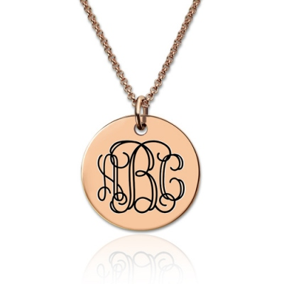 Rose Gold Fashionable Engraved Disc Monogram Necklace