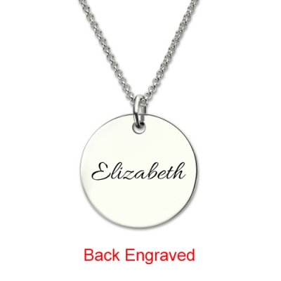Sterling Silver Charming Engraved Disc Monogram Necklace