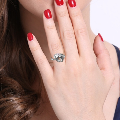 Typical Platinum Plated Engraved Baby with Birthstone Feet Ring
