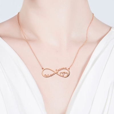 Rose Gold Bewitching Infinity Heart In Heart 2 Names Necklace