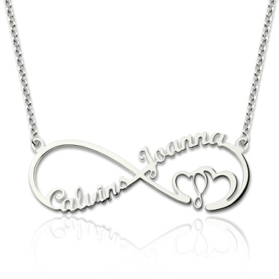 Sterling Silver Distinguished Infinity Heart In Heart 2 Names Necklace