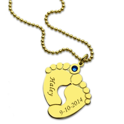 18K Gold Plated Memory Baby's Feet Charms Birthstone Pendant
