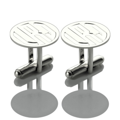 Sterling Silver Glittering Engraved Block Monogram Disc Cufflinks
