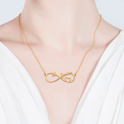 Gold Plated Silver Shimmering Infinity Heartbeat Name Necklace