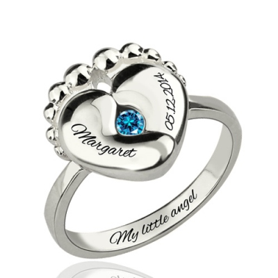 Silver Dignified Engraved Baby Feet Birthstone Ring For New Mom