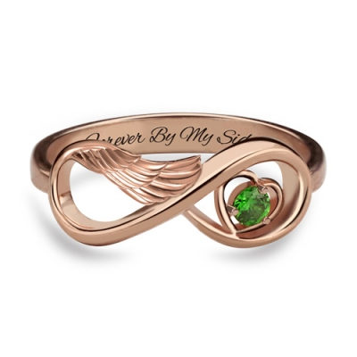 Dazzling Rose Gold Angel Wing Infinity Heart Birthstone Engraved Ring
