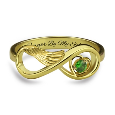 Gold Plated Costly Angel Wing Infinity with Birthstone Heart Ring