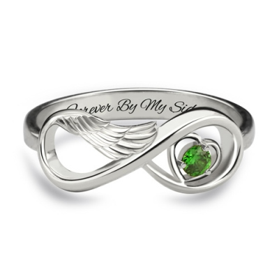 Platinum Plated Attractive Angel Wing with Birthstone Infinity Heart Ring