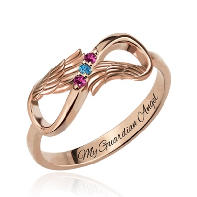 Romantic Angel Wings with Birthstones Rose Gold Infinity Ring