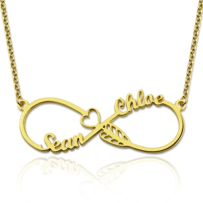 Gold Plated Silver Modish Arrow Infinity Names Necklace