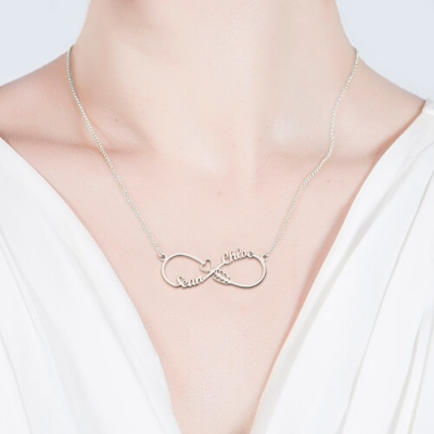 Graceful Sterling Silver Arrow with Names Infinity Necklace