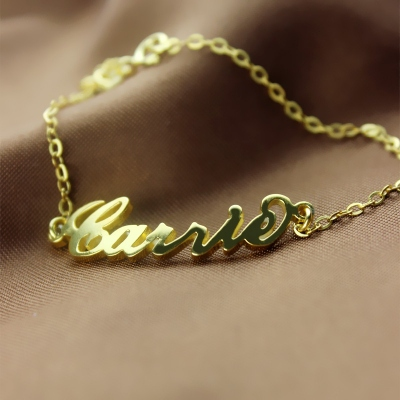 Fashionable Dual-purpose 18k Gold Plated Carrie Name Bracelet