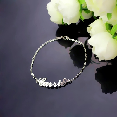Modish Personalized Sterling Silver Carrie Name Bracelet