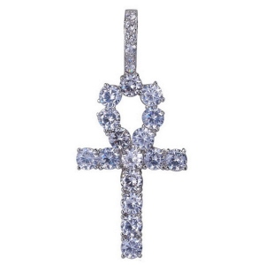 Men Iced out Hip Hop Ankh Cross CZ Necklace