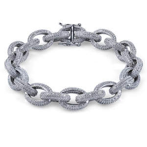 Iced Out Hip Hop Oval Link Bracelet For Men