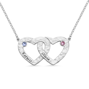 Engraved Double Heart Hammered Necklace With Birthstones in Silver