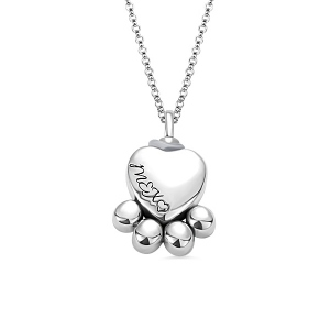 Engraved Pet Footprint Cremation Necklace Sterling Silver