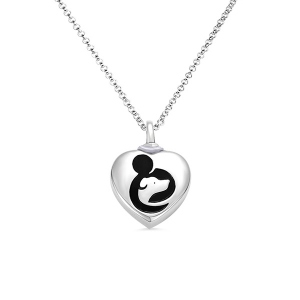 "Engraved ""Hug My Dog"" Urn Cremation Necklace in Silver"