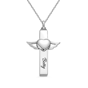 Engraved Cross Urn Cremation Necklace in Silver