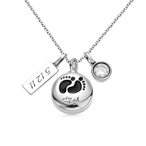 Engraved Baby Footprint Cremation Necklace Sterling Silver