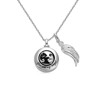 Engraved Urn Cremation Necklace with Angel Wing in Silver