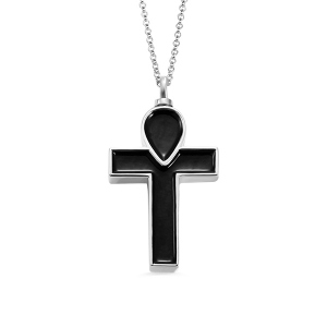 Engraved Black Cross Urn Cremation Necklace