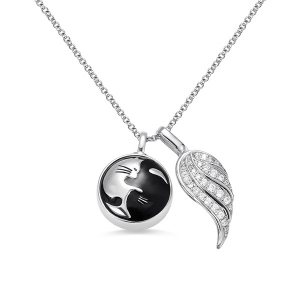 Personalized Yin Yang Cat Angel Wing Urn Necklace in Silver