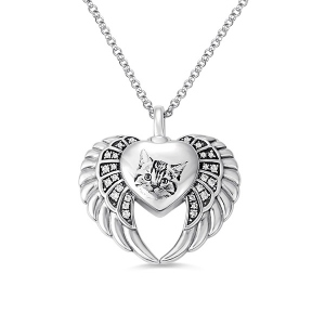 Personalized Angel Wing Heart Urn Necklace in Silver